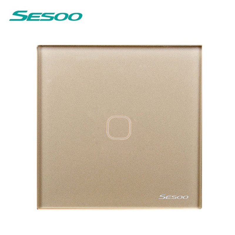 SESOO Touch Switch 1 Gang 1 Way,Wall Light Touch Screen Switch,Crystal Glass Switch Panel smart home uk standard crystal glass panel wireless remote control 1 gang 1 way wall touch switch screen light switch ac 220v