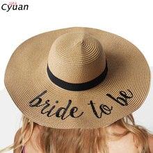 Cyuan, девичник, вечерние, для невесты, с вышивкой, соломенная шляпа, мягкий, большой край, шляпы от солнца, для невесты, для душа, пляжные, вечерние, летние принадлежности