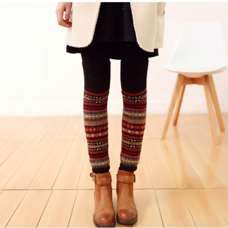 WEIXINBUY Women Winter Elegant Over Knee Long  Knit cover Patchwork Colorful Ladies Crochet Vintage Leg Warmers Legging Chic HTB1tcCMchk98KJjSZFoq6xS6pXab