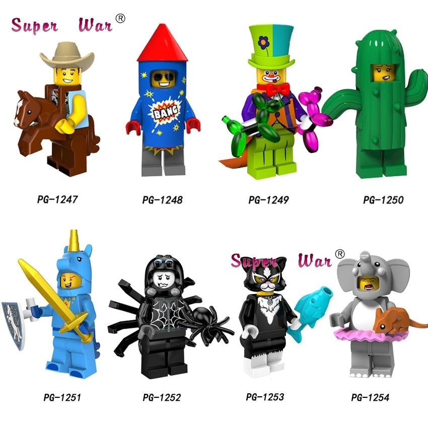50pcs Series Costume cowboy Fireworks boy Circus clown Cactus girl Unicorn boy model building blocks bricks
