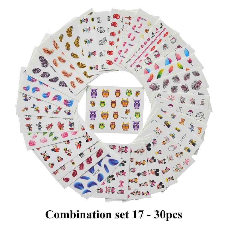 Sprzedaż hurtowa mieszane 2020 najnowsze wzory akwarela kwiatowy naklejka z kwiatami zestaw naklejek do paznokci na żel Manicure Decor Water Slider folia zestaw