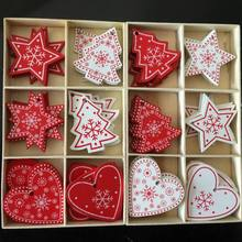 10pcs Red Christmas Wooden Gifts Love Heart Star Tree Hanging Signs Decor Xmas Home Bar Shop