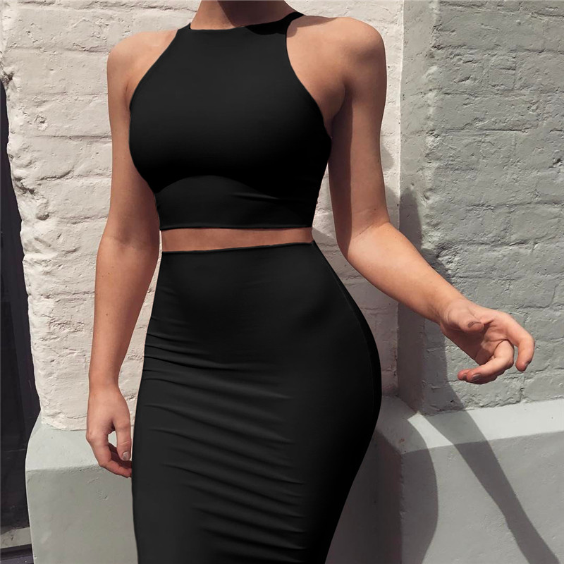 New 2019, women's new vest, hips, sexy two-piece, knee-length dress, sleeveless, sexy trapezoidal dress, suitable for women