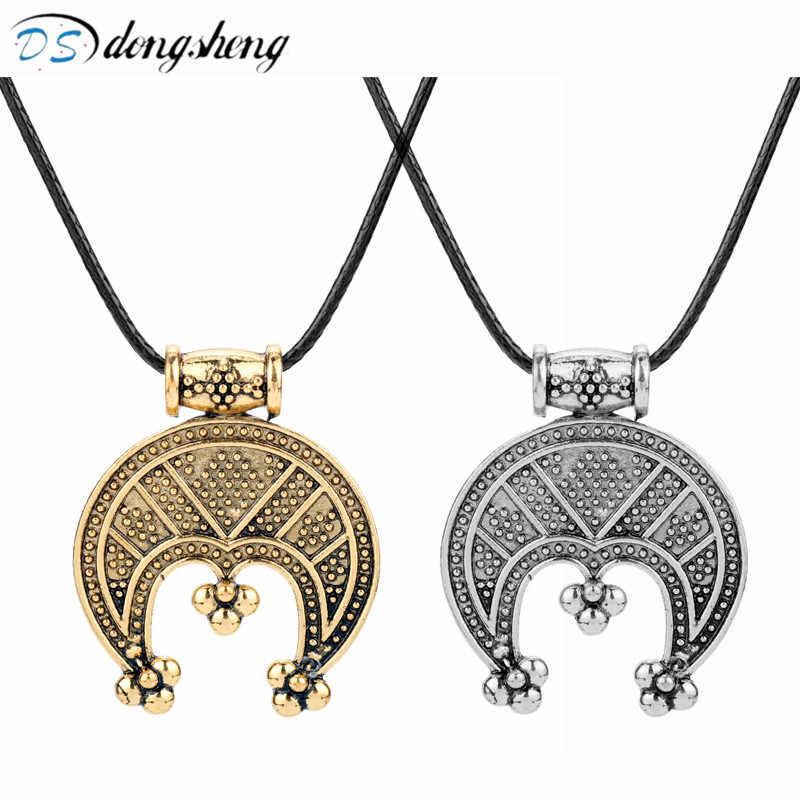Dongsheng słowiańskich Nordic wikingów biżuteria Tricorn Lunula ochronny Amulet Crescent Viking wisiorek naszyjniki dla kobiet prezent dla mężczyzny-30