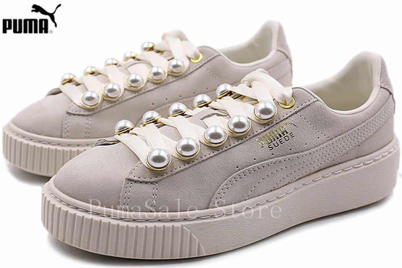 quality design 3a251 1a31e ... PUMA Suede Platform Bling Womens Sneakers 36668802 New Arrival Rihanna Pearl  Women Sport Badminton Shoes Beige