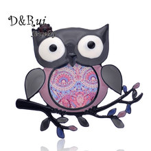 Vintage Enamel Brooches For Men And Women Gift Lovely Big-eyed Owl Branch Brooch Pin Fashion Scarf Dress Jewelry New Design