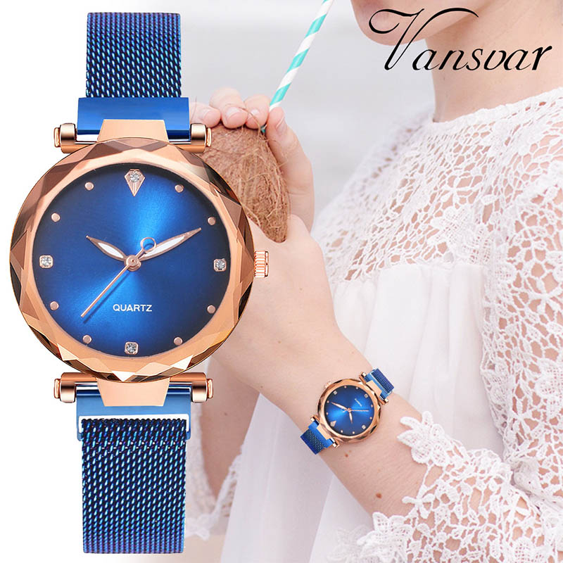 Women Watch 2019 Luxury Diamond Mesh Gold Magnetic Starry Sky Watch Relogio Feminino Ladies Wrist Watch For Clock Zegarek Damski