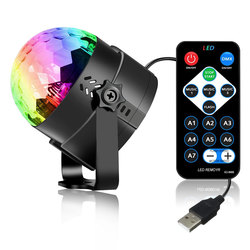 KARRONG Light 3W RGB Mini Magic Ball Colorful Car Stage Lights USB Voice Activated LED Party Disco Crystal Rotating Lamp Ball