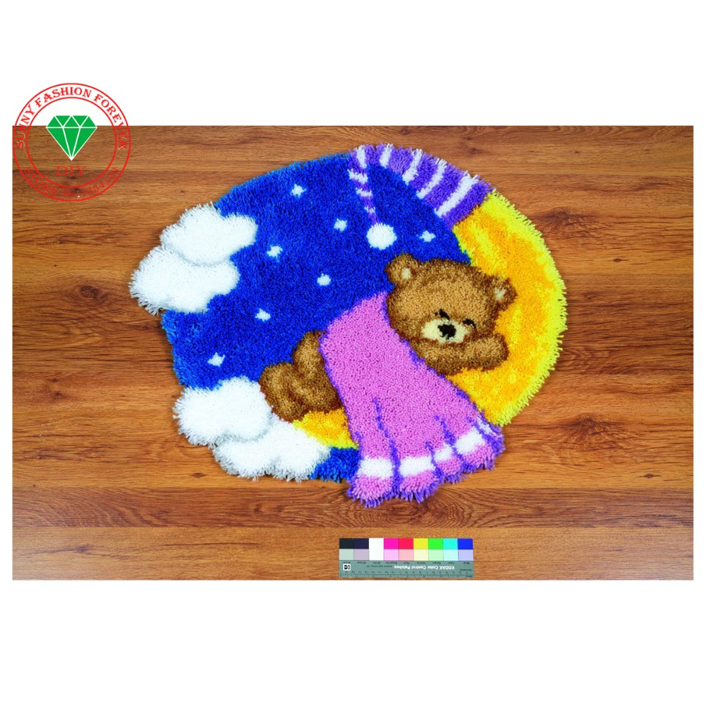 Online Cartoon Animal Bear Latch Hook Rug Kits Unfinished Crocheting Carpet Yarn Needlework Cushion Sets For Embroidery Mat Aliexpress