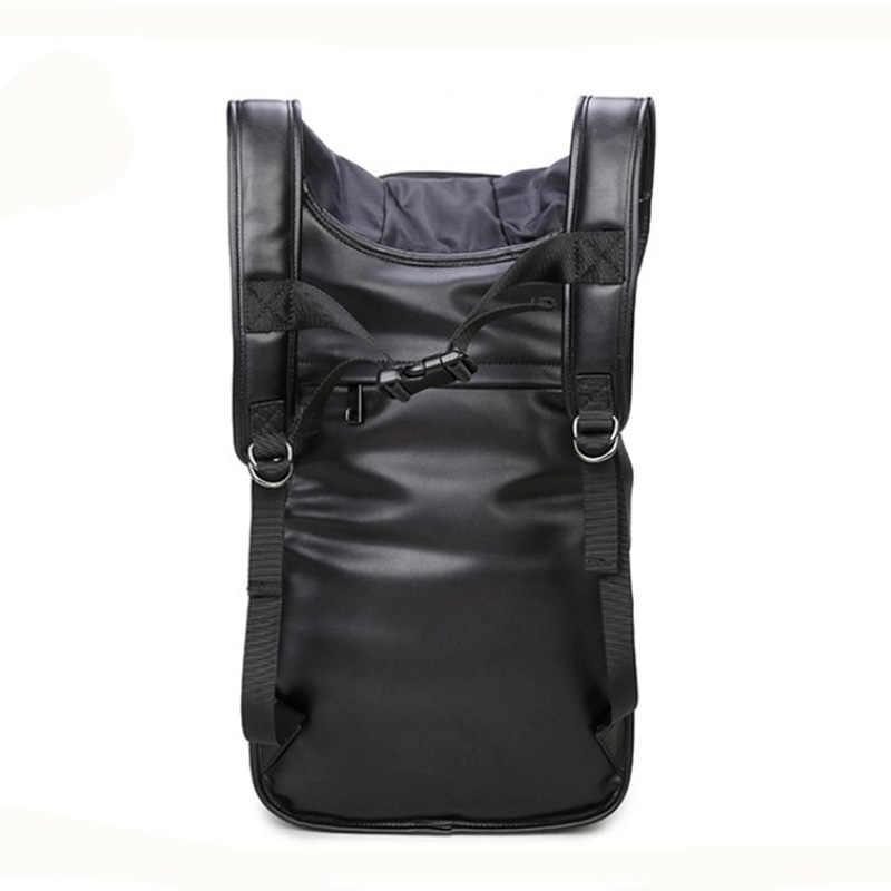Masculino voltar sacos com capa boné 3d moda personalidade crânio couro mochila rebites saco de vestuário japonês mochila