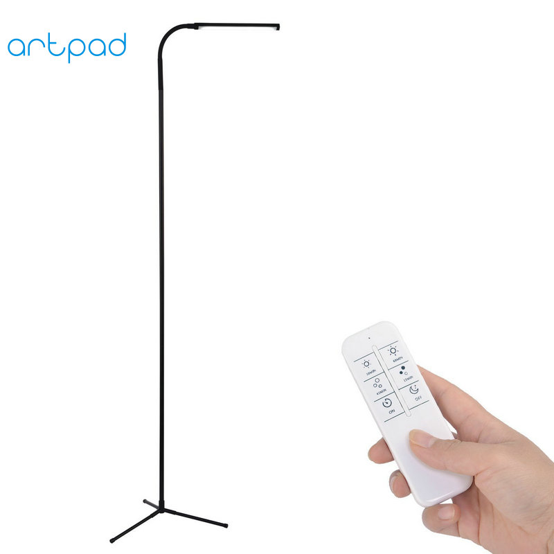 Artpad 10W Wireless Remote Control Floor Stand Lamp 360 Rotatable Gooseneck Touch Dimmer 72 PCS LED Modern Tripod Floor Lamp