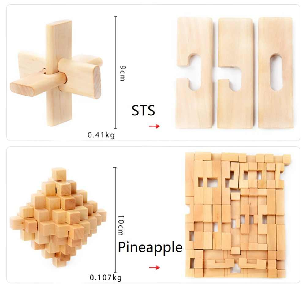 Rompecabezas de cubo chino de madera 3D rompecabezas grandes para resolver Kong ming Lu Ban Lock
