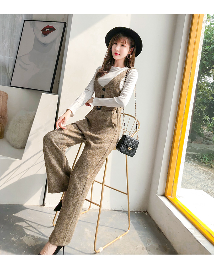 SMTHMA 2019 New arrival Autumn and winter woolen rompers womens jumpsuit+Cotton knit t-shirt women two piece outfits 2