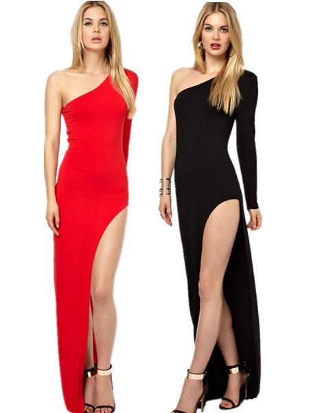 2f7ca3525 مثير النساء فساتين طويلة الأكمام المائل الكتف حمالة فساتين أنيقة السيدات  سليم سبليت ينتهي الفساتين الطويلة