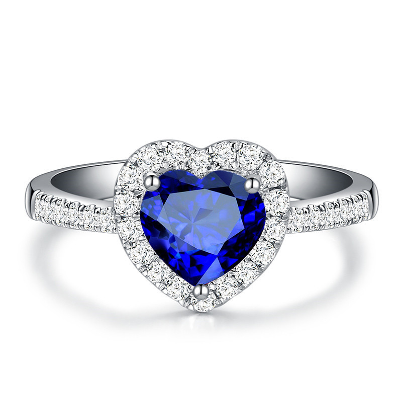 Blue Heart Wedding Crystal Rings For Women Silver Color Engagement Love Shine Cubic Zirconia Ring Luxury Jewelry Gifts 2019(China)