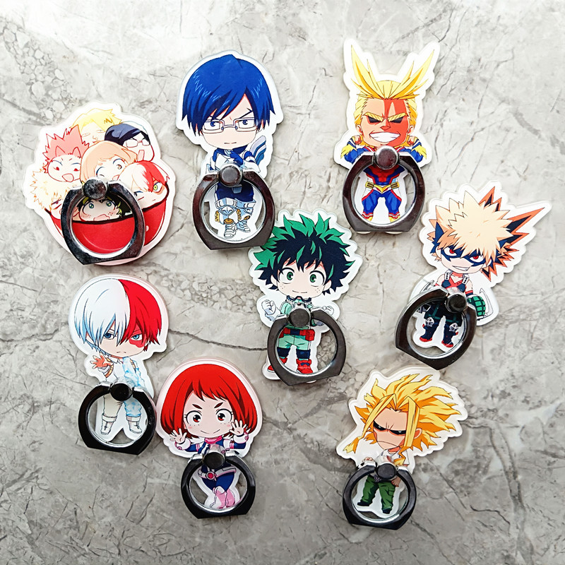 Anime My Hero Academia Finger Ring Mobile Phone Stand Phone Holder Acrylic 360 Degree Ring Stent Toy Gift