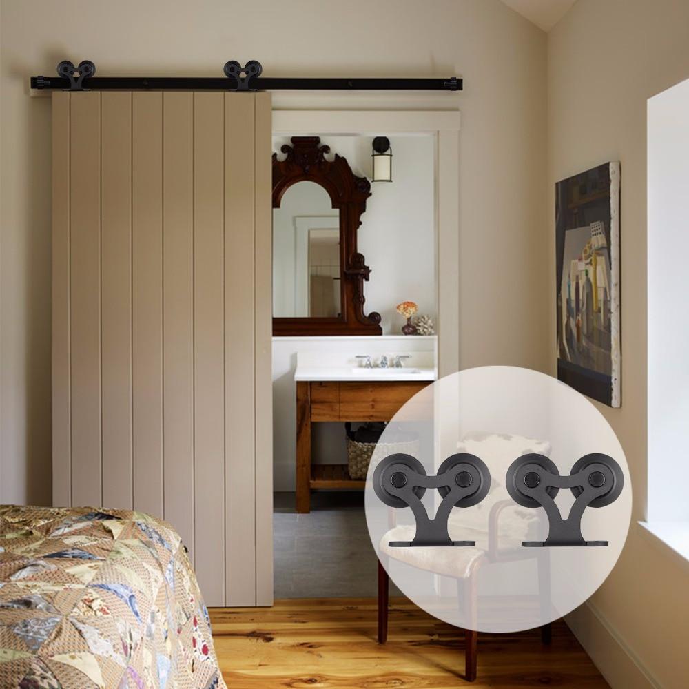 LWZH 20Ft Vintage Style Sliding Door Track Barn Wood Door Hardware Rustic Double-T Shaped Black Track Kit Track For Single Door