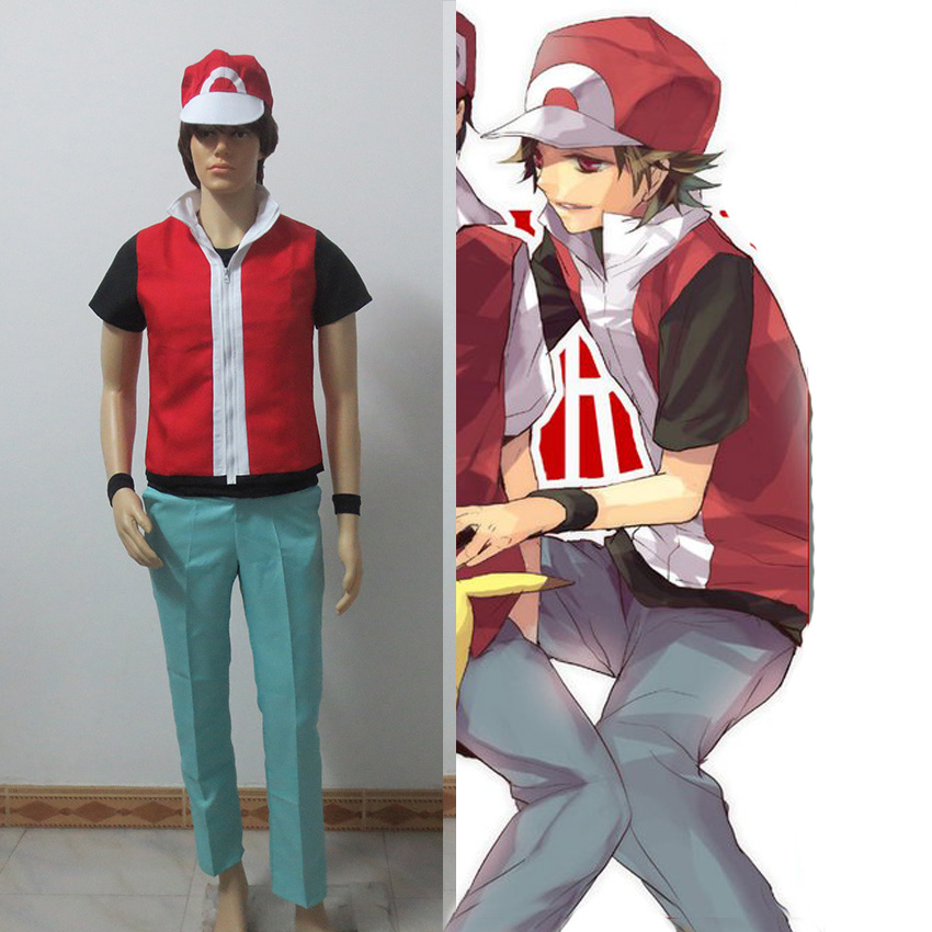 Anime Game Pokemon Trainer Red Cosplay Costume With Hat And Wristguards Included - Ash Ketchum Cosplay Outfit