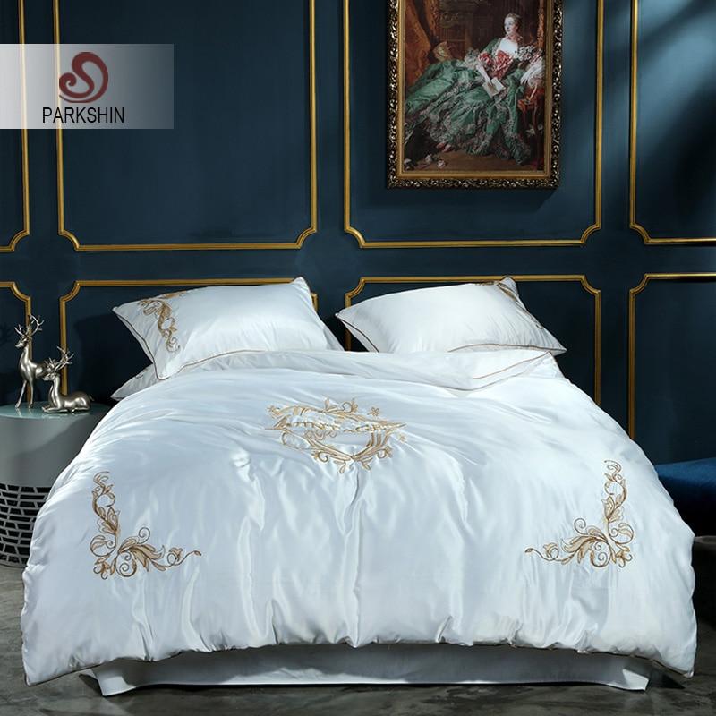 ParkShin Luxury White Color Silk Bedding Set Home Textiles