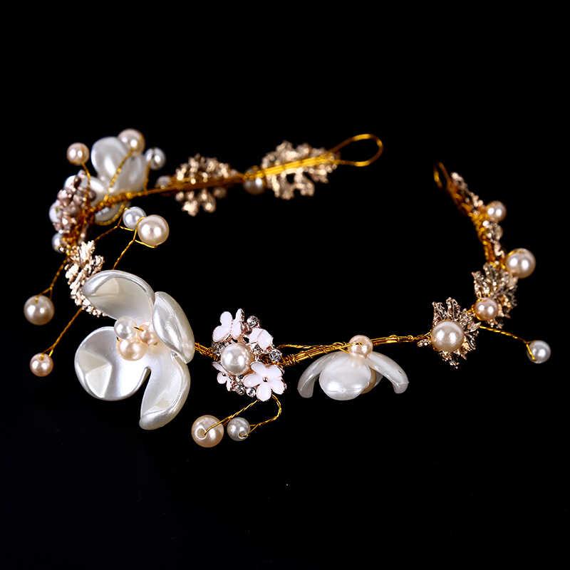Luksusowy ślubny kwiat ślubny sztuczna perła kryształowa tiara korony księżniczka królowa korowód Prom Rhinestone ślubne akcesoria do włosów