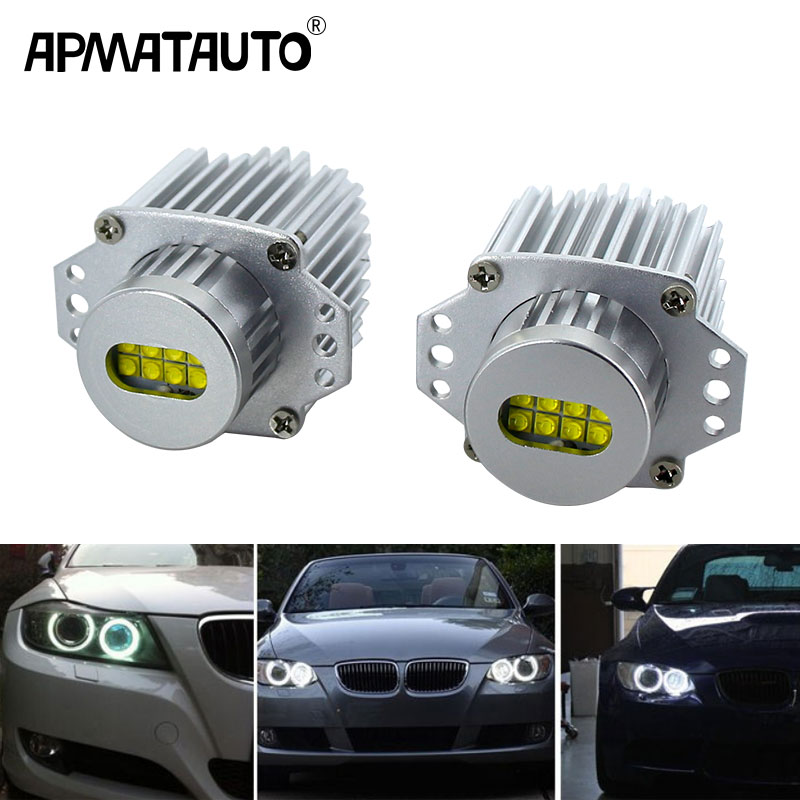 2pcs X CANbus 80w LED Angel Eyes Marker Lights Bulbs Error Free White For BMW E90 E91 3 Series 325i 328i 335i 2006-2008