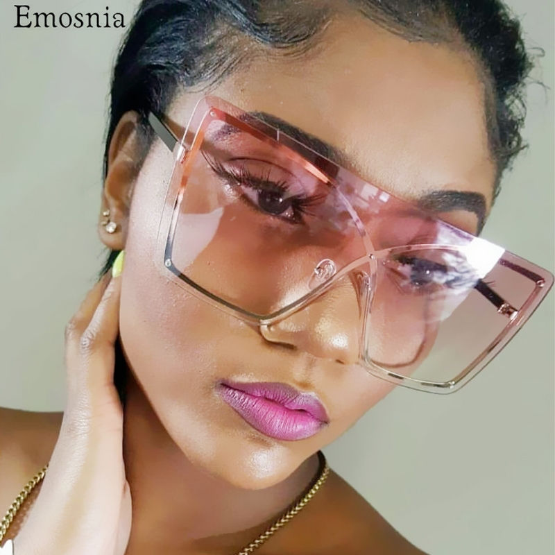 Italian Luxury Gradient Sunglasses Women 2019 Trendy Brand One Piece Sun Glasses Rimless Oversized Frame Female Shades UV400