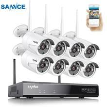 SANNCE 8CH bezprzewodowy System CCTV 1080P 2TB HDD 2.0MP NVR IP IR-CUT zewnętrzna kamera telewizji przemysłowej zabezpieczenia IP System wideo zestaw do nadzorowania