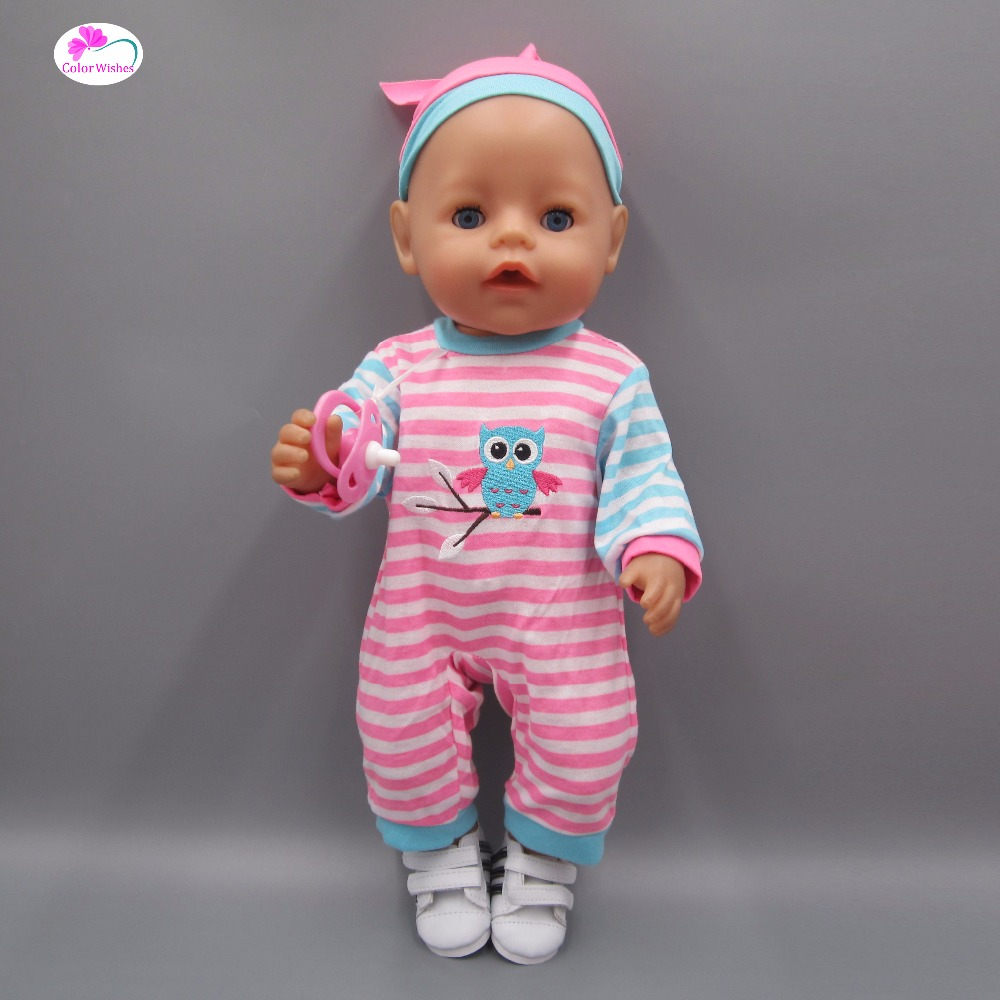 Clothes for dolls fits 43-45cm American girl Baby Born zapf doll Striped casual suit doll accessories american girl dolls clothes spiderman batman superman cosplay for 16 18 inch dolls girl gift x 54 dropshipping