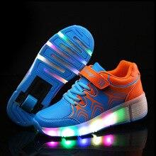 Child Jazzy Heelys, Junior Girls/Boys LED Light Heelys, Children Roller Skate Shoes, Kids Sneakers With Single Wheels