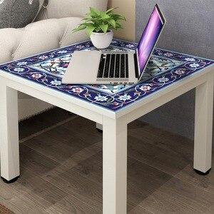 Image 3 - Hot marroquí Lack mesa escritorio Tops tela calcomanías de pared extraíble autoadhesivo impermeable mueble o pared pegatina 55X55Cm