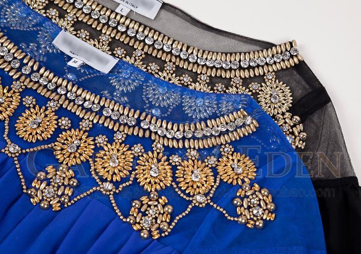 2ba7ef9751129 2019 New Style Summer Long Sleeve Maxi Dress Women Vintage Beading Black/Blue  Gauze Mesh Party Dresses Plus Size Clothing XXL-in Dresses from Women's ...