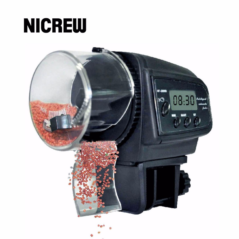 Nicrew 65mL Automatic Fish Feeder for Aquarium Fish Tank Auto Feeders with Timer Pet Feeding Dispenser LCD Indicates Fish Feeder