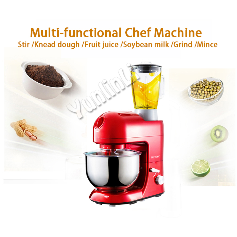 1pc 220V Home multi-functional chef machine 5L large-capacity mixing bowl stir/dough kneading/fruit juice/grind/mince machine blenders the multi functional cooking machine uses the smart juice to grind mincing machine