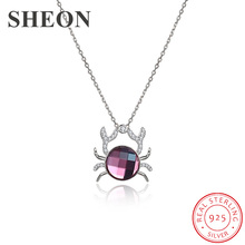 SHEON Authentic 925 Sterling Silver Pink Crystal Cute Crab Animal Pendant Necklaces for Women Jewelry Hot Sale