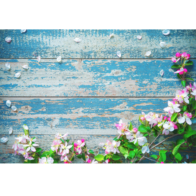 Laeacco Flower Wooden Board Plank Portrait Grunge Baby Photography Backgrounds Customized Photography Backdrops For Photo Studio