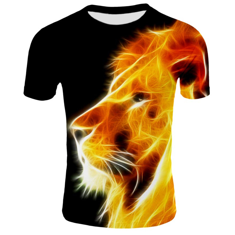 Girl Tees T-Shirts Clothing Printed Boys Kids Fashion Child Summer Lion 3d Lightning