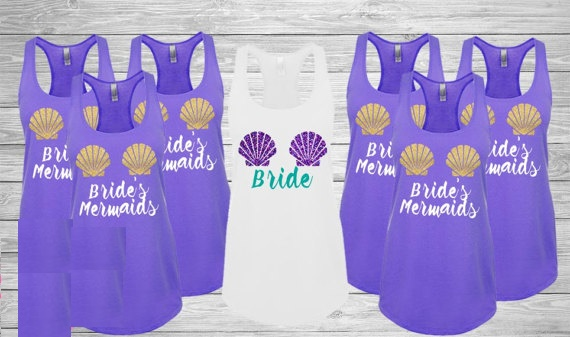 4cf0ba2b7946 customize glitter wedding Bridesmaids Brides Mermaid Tank tops tees  singlets Bachelorette besties t Shirts Party gifts