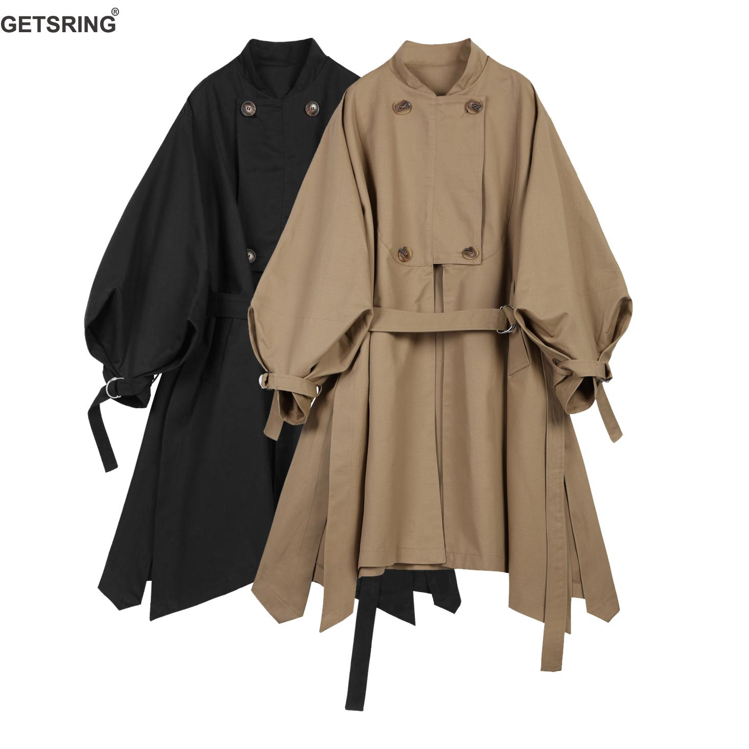 GETSRING Womens   Trench   Coats Lantern Sleeve Irregular Hem Cotton Windbreakers Long Sleeved Lace Up Long Female Overcoat Autumn