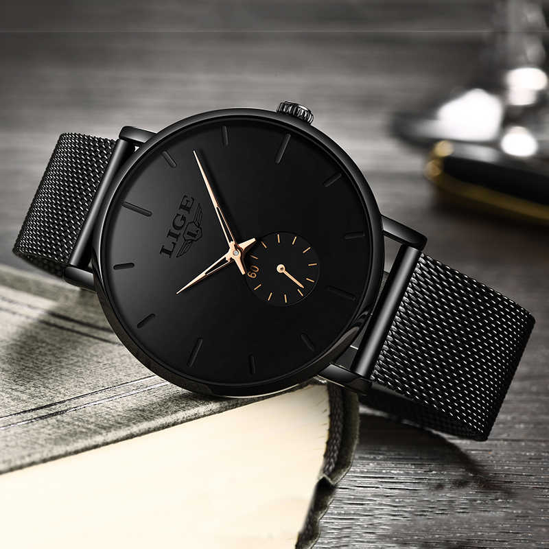 LIGE المرأة الساعات العلامة التجارية الفاخرة ساعة عصرية غير رسمية المرأة كوارتز ساعة مضادة للماء شبكة حزام السيدات ساعة اليد السيدات