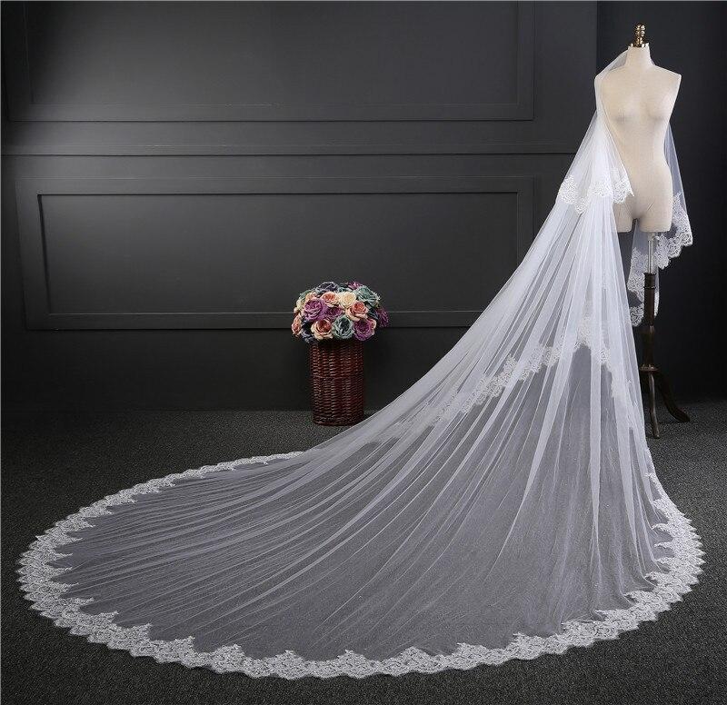 Gsbridal  Bride Veils Lace Edge Tulle   Meters Veu De Noiva Long Wedding Veils Bridal Accessories Lace Bridal Veil In Bridal Veils From Weddings