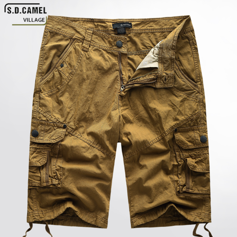 S.D.CAMEL Mens Military Cargo Shorts 2018 Brand New Men Cotton Loose Work Casual Vintage Short Pants Plus Size yellow 40 jp1088