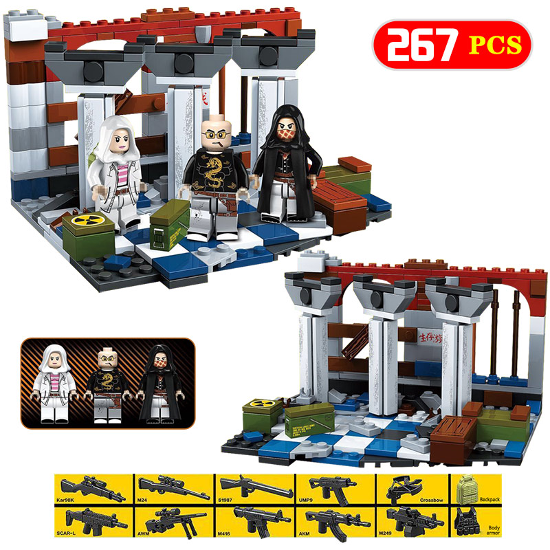 New PUBG FPS Battlegrounds Winner Chicken Dinner Game Compatible Legoings Military Army Weapons Building Blocks Toys For Boys