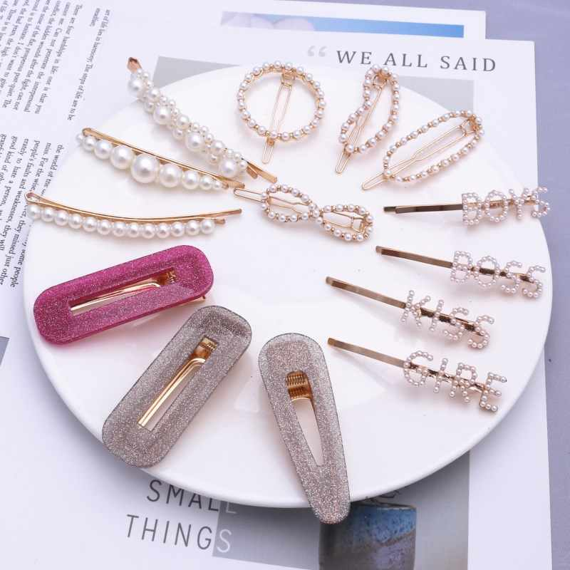 Fashion Pearl Hair Clip for Women Elegant Korean Design Snap Heart Smile Face Barrette Stick Hairpin Hair Styling Accessories