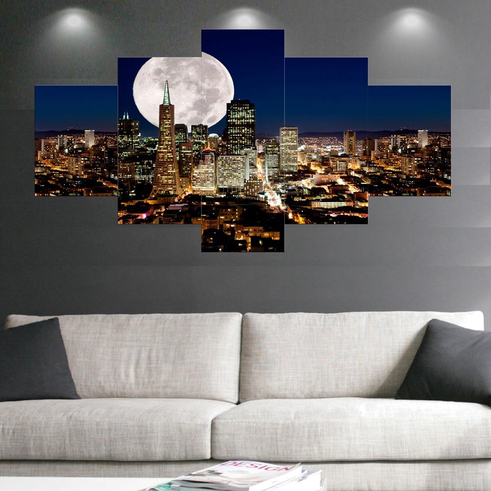 풍경 달 샤인 도시 야경 캔버스 인쇄 벽 거실 cuadros 장식 사진 5 개
