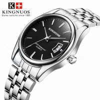 Reloj para hombre, reloj de pulsera analógico de cuarzo de acero inoxidable Kingnuos, reloj de lujo para hombre