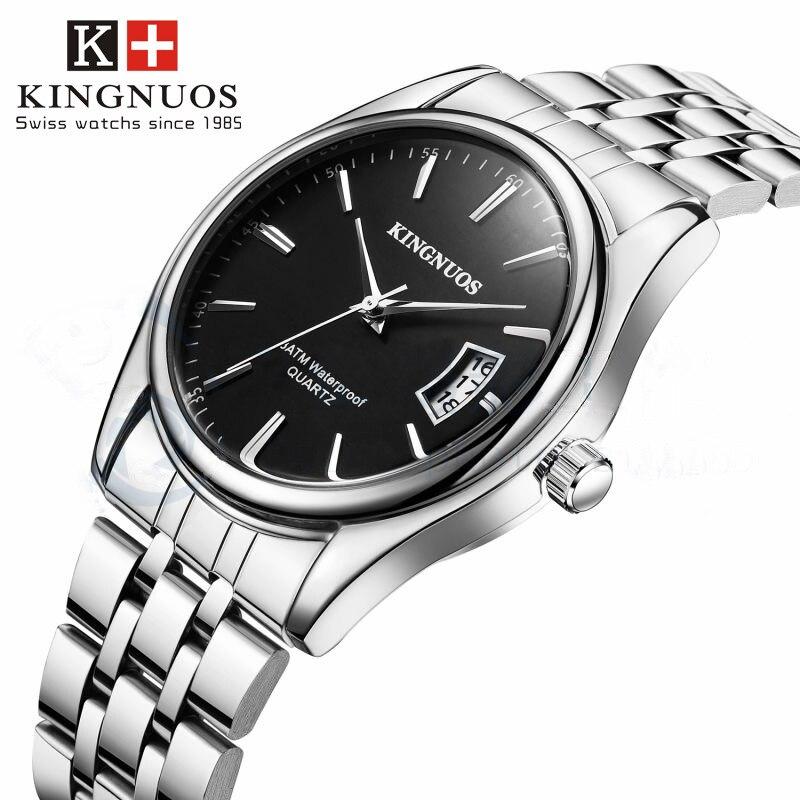 Relogio masculino Kingnuos Relógios Banda de Aço Inoxidável Quartzo Analógico relógio de Pulso dos homens Relógio de Luxo Homens relógio masculino reloj hombre