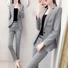 Two piece set top and pants fashion professional plaid suit female temperament long sleeve tooling two-piece