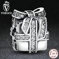 925 Sterling Silver Sparkling Surpresa, limpar cz presente caixa de presente charme fit pandora original pulseira acessórios de jóias s211