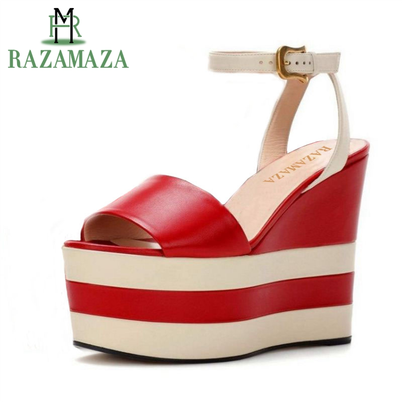 RAZAMAZA Women High Heel Sandals Genuine Leather Platform Mixed Color Ankle Strap Shoes Woman Sandals Party Footwear Size 34-40 criss cross colorblocked women velvet platform sandals red black green fashion mixed color ankle strap party sandals shoes woman