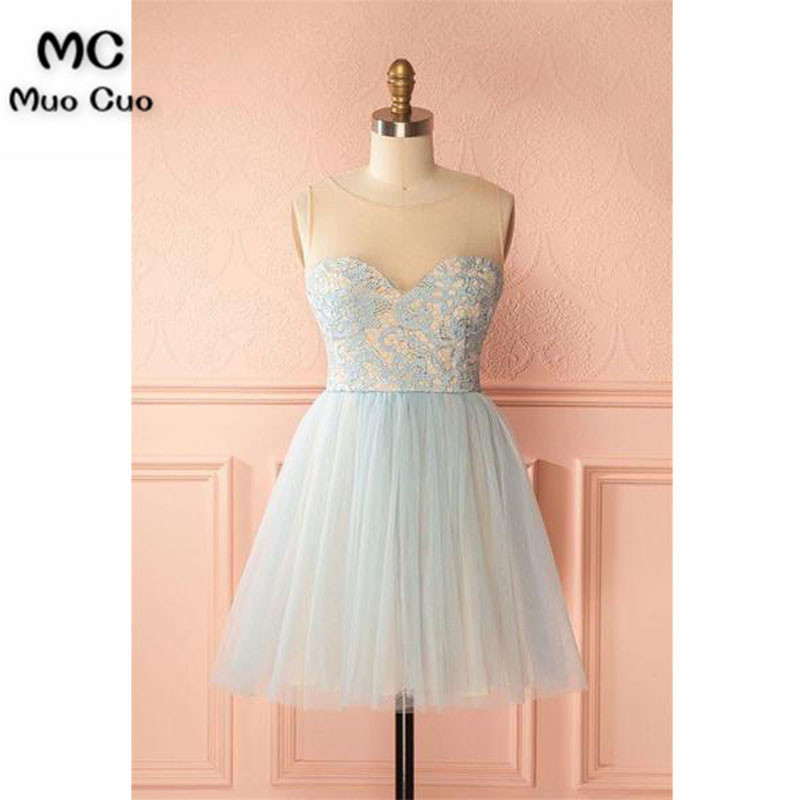 91de1c351 Cheap Simple 2018 A Line Sheer Lace Homecoming Vestido corto Mini  graduación vestidos con Appliques Tulle